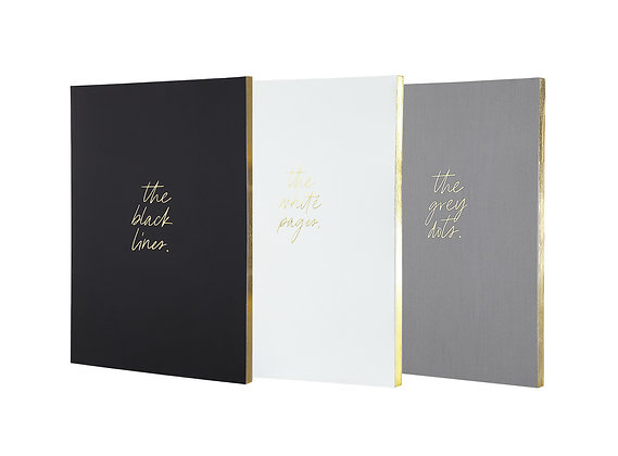 """Notebook Set of 3 """"Monolux"""" [A5, Black, White, Grey]"""
