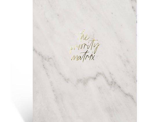 "Organization Pad ""Priority Matrix"" [A4, White Marble]"