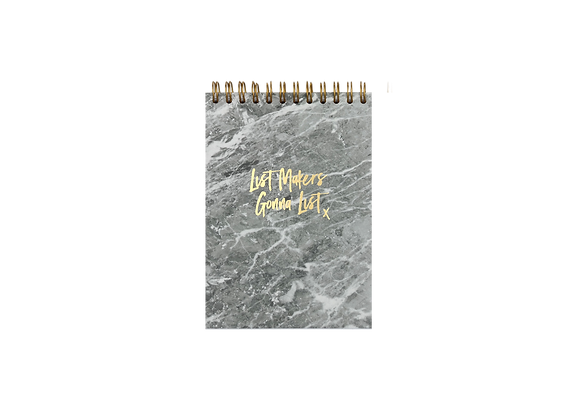 "NOTEPAD ""LIST MAKERS"", A6,  grey / gold"