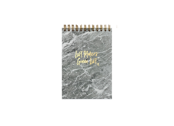 """NOTEPAD """"LIST MAKERS"""", A6,  grey / gold"""