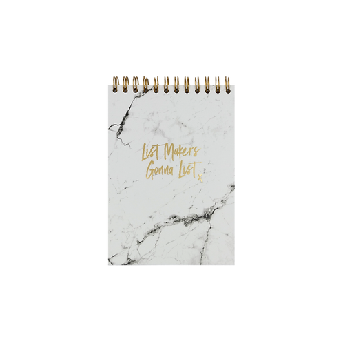 """NOTEPAD """"LIST MAKERS"""", A6,  white / gold"""