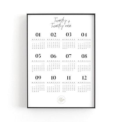 Art Print Calendar 2021 [A3, white]