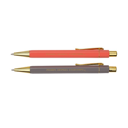 Ballpoint Pen Set [Peachy Coral + Grey Stone]