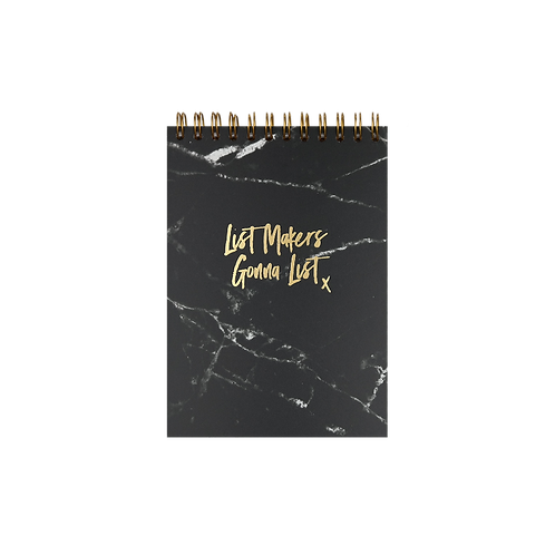 """NOTEPAD """"LIST MAKERS"""", A6,  black / gold"""