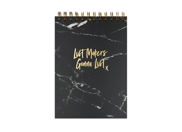 "NOTEPAD ""LIST MAKERS"", A6,  black / gold"