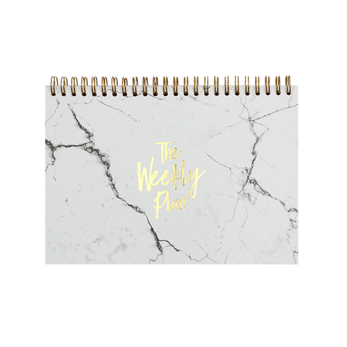 """NOTEPAD """"WEEKLY PLAN""""  A5   white + gold"""