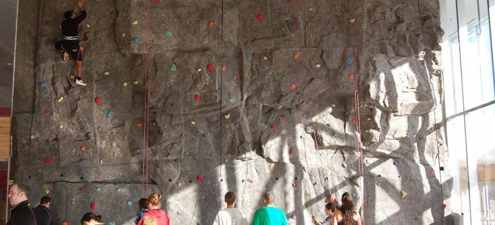 custom climbing wall manufactured with natual rock texture