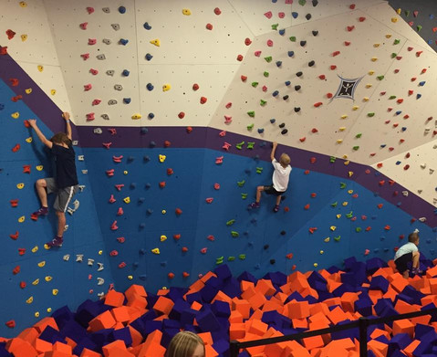 Rock Climbing Wall over Foam Pit