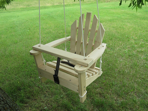 Adirondack Child Swing and Chair - Unfinished Pine