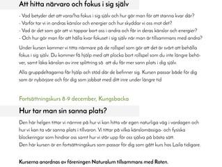 Kurser för Helhet, Energi och Balans på Roten i höst!