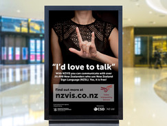 NZVIS signlanguage week mall billboard