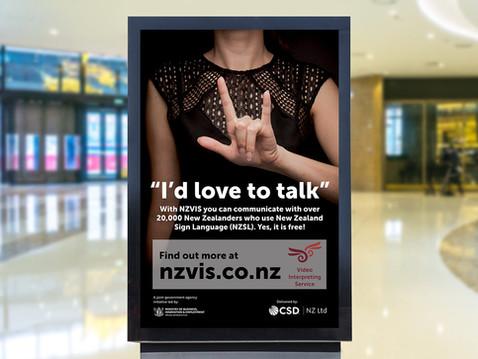 NZVIS signlanguage week mall billboard