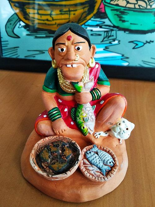 Fisherwoman Terracotta figurine