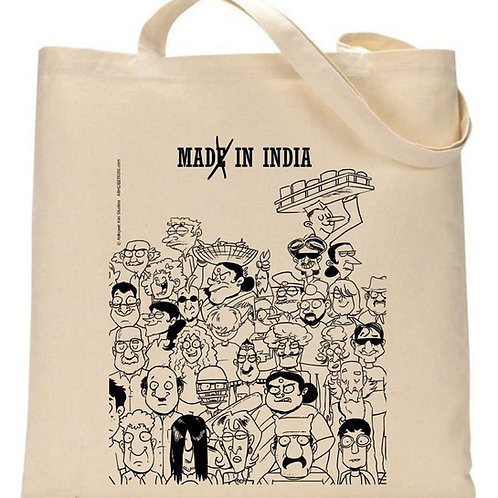 Made in India Tote bag ( Black & White)