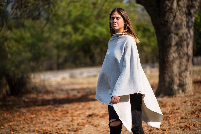 Cover Me Softly | Organic Cotton Fleece Poncho | Light Grey