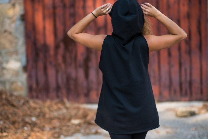 Hoodie Bear | Organic Cotton Fleece Sleeveless Hoodie | Black