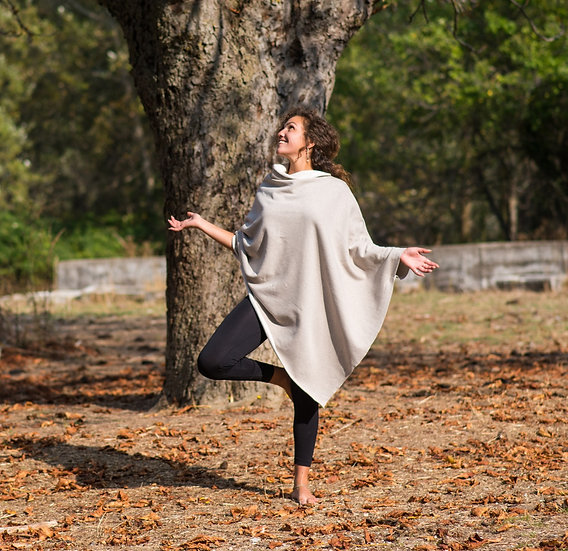 Cover Me Softly | Organic Cotton Fleece Poncho | Hessian