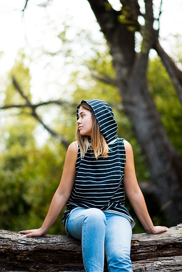 Hoodie Bear | Organic Cotton Fleece Sleeveless Hoodie | B&W Stripes