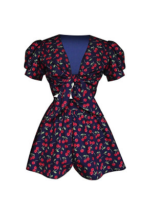 Cherry Print Tie Blouse and Skirted Shorts Set