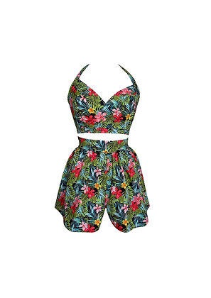Tropical Print Vintage Style Crop Top and Shorts Set