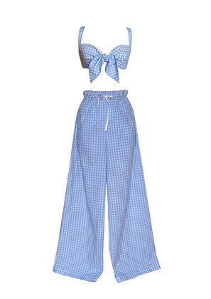 Gingham Pin Up Style Pyjama Set