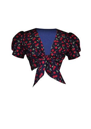 Cherry Print Tie Front Blouse