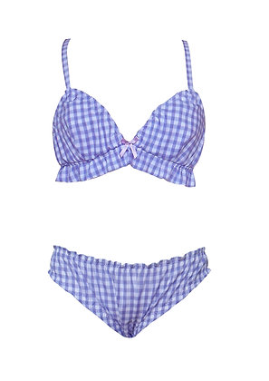 Frilly Gingham Bralette and Knickers Lingerie Set