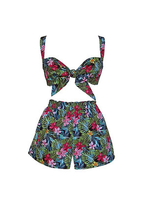 Tropical Print Bra and Shorts Set