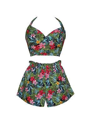 Tropical Print Crop Top and Shorts Set