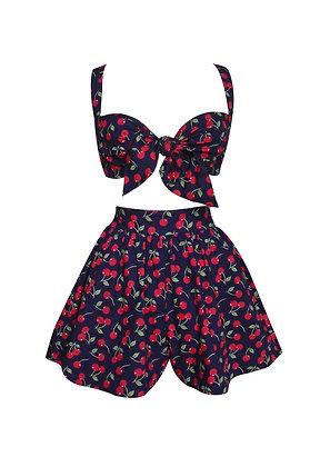 Cherry Print Bra and Skirted Shorts Set