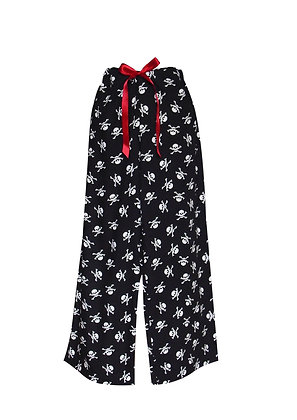 Skull Print Wide Leg Pyjama Bottoms