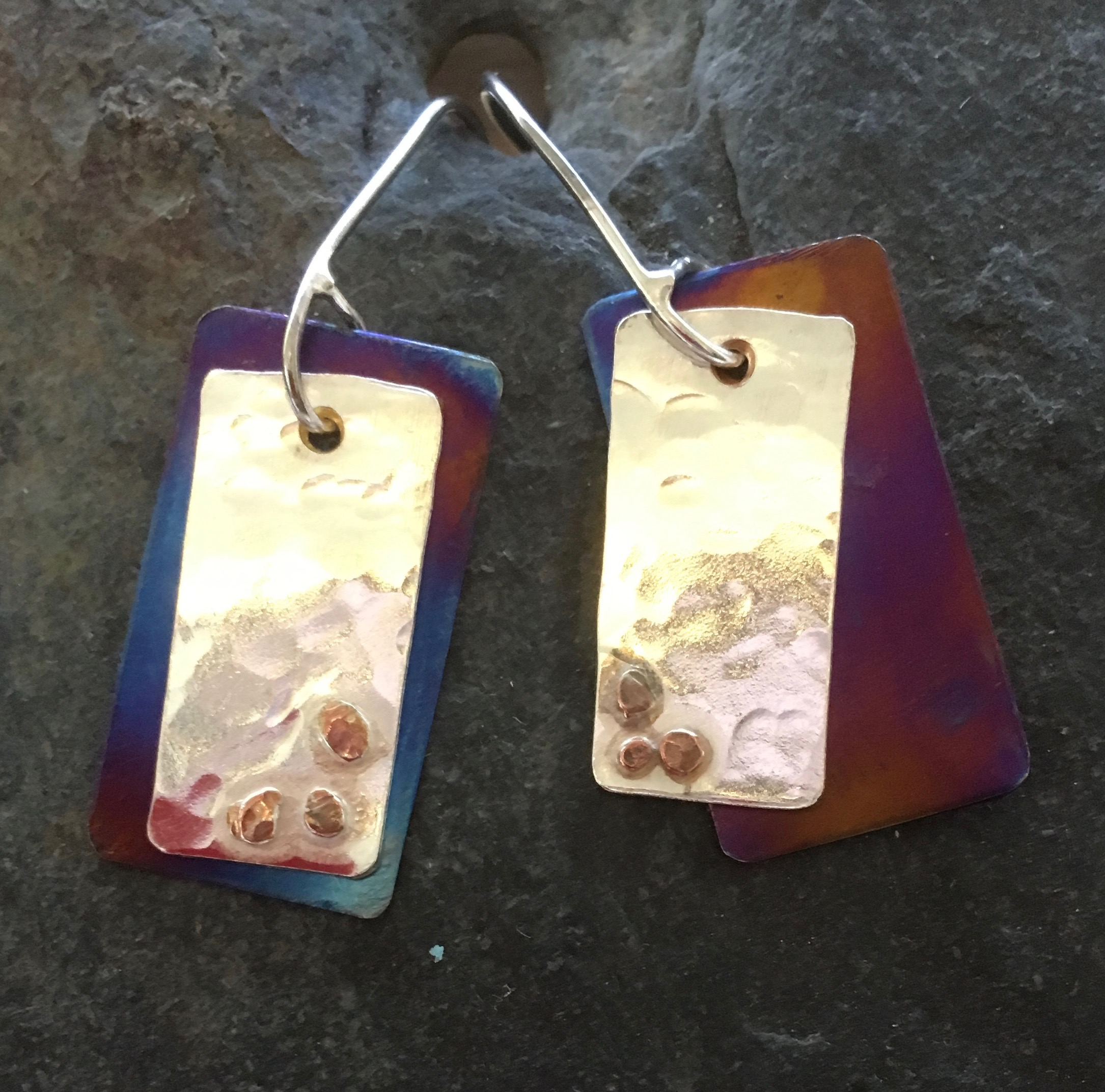 Silver, titanium and copper earrings