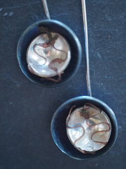 Silver, copper and titnium earrings