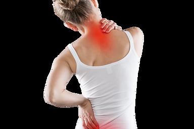 Plecy młodej kobiety w białej podkoszulce z oznaczonym kolorem czerwonym bólem w odcinku szyjnym kręgosłupa