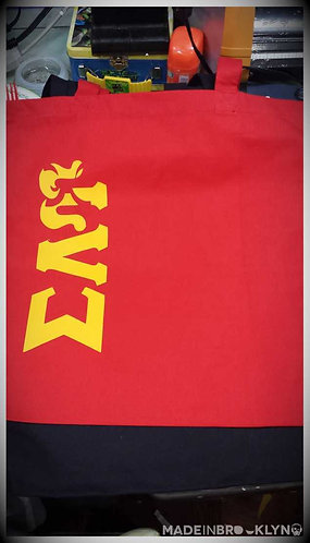 SLU Symbol Gold on Red Tote