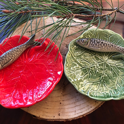 Mini pratos sardinha em cerâmica portuguesa