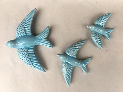 Set 3 andorinhas em cerâmica