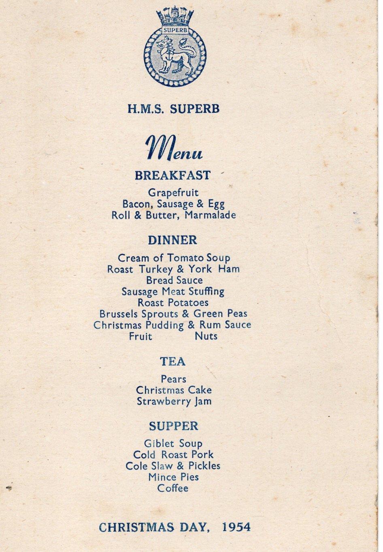 Christmas Dinner Menu 1954 (Martin Hyde
