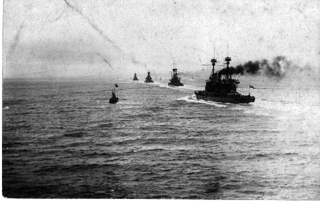 1915 The British fleet which was first going up the Dardanelles. Flagship HMS Su