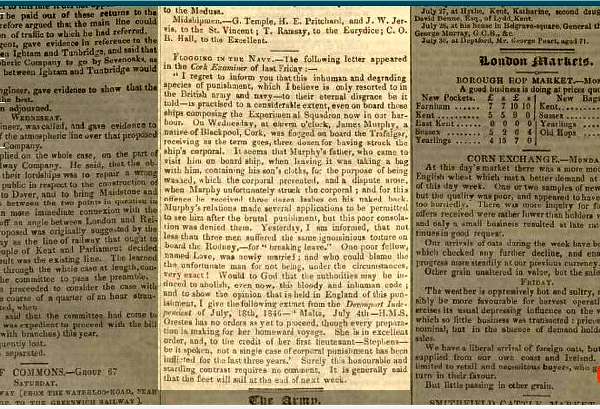West Kent Guardian - Saturday 01 August 1846 Flogging in the Navy improved .jpg