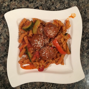 Recipe: Chickpea Pasta with Veggies and Meatballs