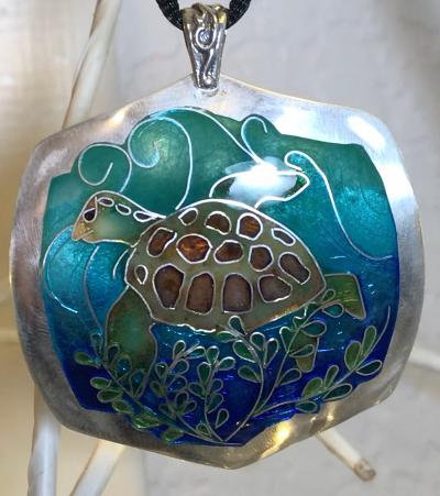 Sea Turtle Cloisonné Enamel on Fine Silver Pendant