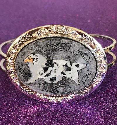 Collie silver tone gaiting collie bracelet