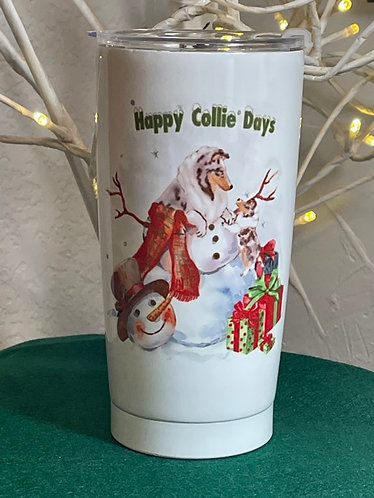 holiday travel mug by Laura Weiss
