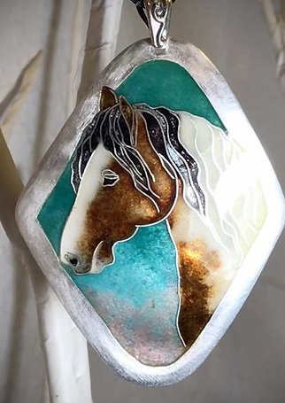 horse cloisonné  enamel on fine silver pendant