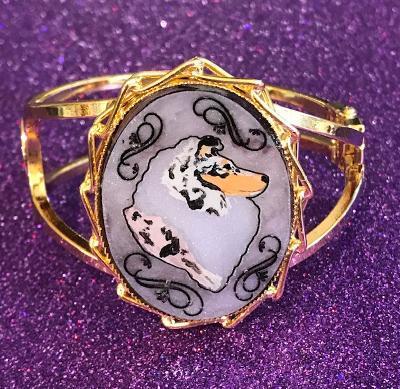 Blue Merle sheltie gold tone bracelet