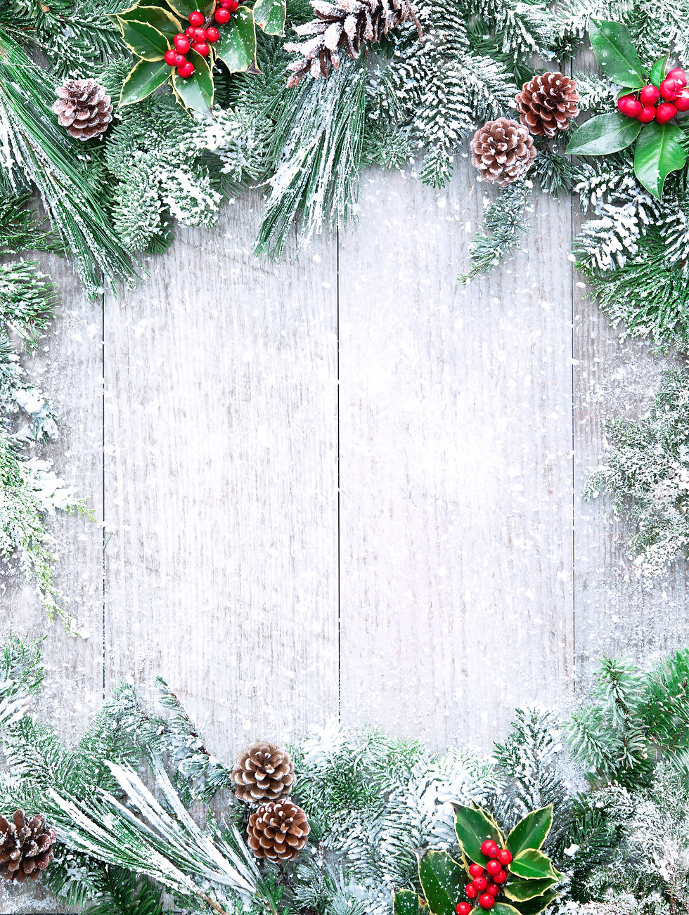 Christmas and New Year background with fir branches, holly and snowfall on wooden white bo