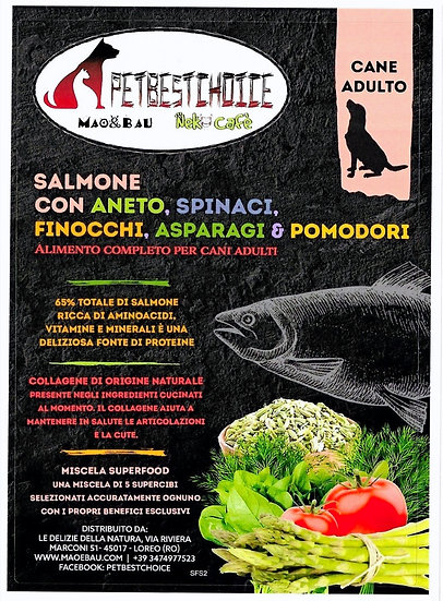 PETBESTCHOICE ADULT SALMONE & 5 SUPERFOOD 65% TOTALE DI INGREDIENTI ANIMALI