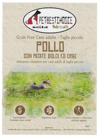 PETBESTCHOICE GRAINFREE  mini ADULT  Pollo 55% Patate dolci ed Erbe di campo