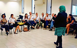Arab Volunteer teach conversational skills using Lissan NGO's Method